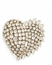 Saint Laurent Smoking Heart Crystal Embellished Brooch