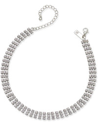 INC International Concepts Silver Tone Crystal Choker Necklace Created For Macys
