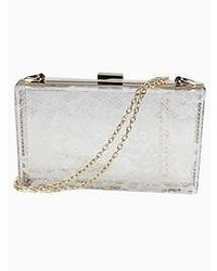 Choies White Transparent Clutch Bag With Lace Panel And Matallic Chain