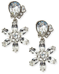 Oscar de la Renta Clear Multi Crystal Clip On Earrings