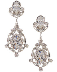 Kenneth Jay Lane Crystal Drop Clip On Earrings