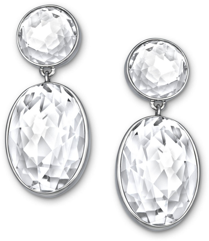 swarovski drop oval shop original plated crystal women clear palladium earrings