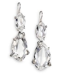 Alexis Bittar Fine Silver Ice Marquis Clear Quartz Grey Diamond Sterling Silver Drop Earrings