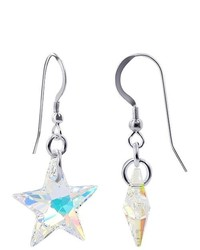 Gem Avenue Sterling Silver 18mm X 21mm Clear Ab Star Crystal Earrings Made With Swarovski Elets