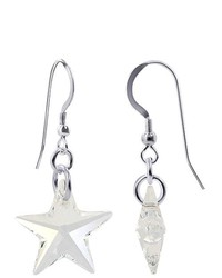 Gem Avenue Sterling Silver 18mm X 21mm Clear Star Crystal Earrings Made With Swarovski Elets