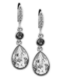 Givenchy Clear And Black Swarovski Crystal Teardrop Earrings