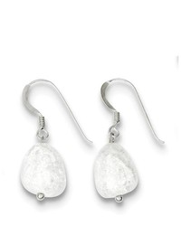 goldia Sterling Silver Clear Cracked Quartz Crystal Earrings