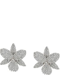Nina Large Pave Orchid Clip Swarovski Crystals Earrings Earring