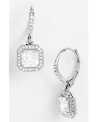 Nadri Crystal Drop Earrings Silver Clear