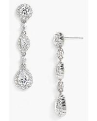Nadri Framed Cubic Zirconia Crystal Drop Earrings