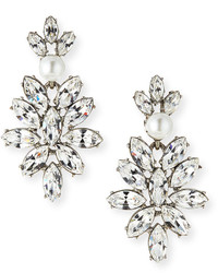 Oscar de la Renta Navette Crystal Drop Clip Earrings