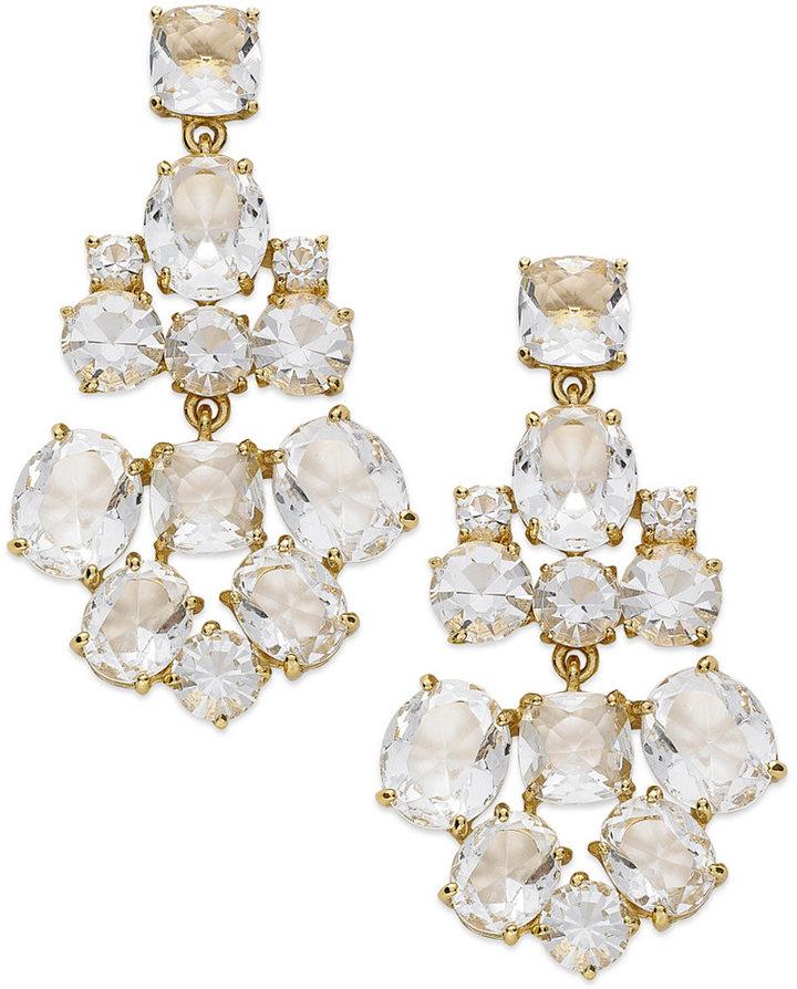 Kate Spade New York Earrings Gold Tone Clear Gl Chandelier
