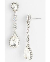 Nina Betine Drop Earrings Silver Clear Crystal