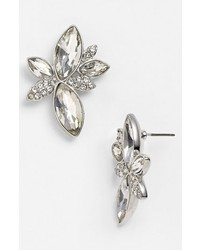 Nina Jayne Cluster Stud Earrings Silver Clear