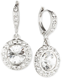 Givenchy Rhodium Plated Crystal Round Drop Earrings