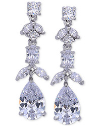 Nina Silver Tone Floral Crystal Linear Drop Earrings