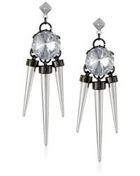 Steve Madden Glitz Girl Large Crystal And Spike Drop Earrings