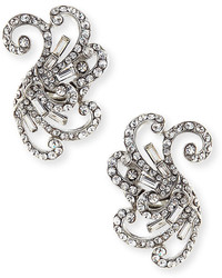 Jose & Maria Barrera Swirled Crystal Clip On Earrings