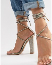 Clear Embellished Leather Heeled Sandals