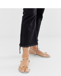 River Island Jelly Sandals With Stud Detail In Clear