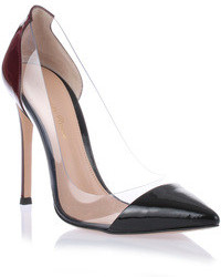 Gianvito Rossi Black Burgundy Patent Leather Pump