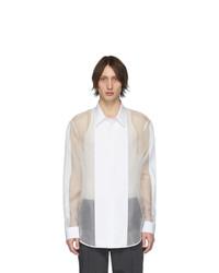 Helmut Lang Off White Silk Organza Tuxedo Shirt