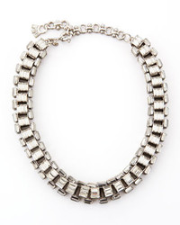 Lee Angel Silver Plated Clear Crystal Baguette Necklace