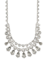Givenchy Silver Tone Two Row Crystal Collar Necklace