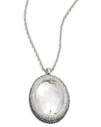 Swarovski Crystal Halo Oval Pendant Necklace