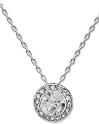 Swarovski Necklace Silver Tone Crystal Circle Pendant