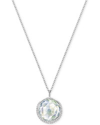Swarovski Silver Tone Cabochon Faceted Crystal Pendant Necklace