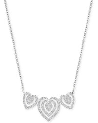 Swarovski Silver Tone Triple Heart Pav Pendant Necklace