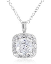 Swarovski Myia Passiello Cushion Cut Zirconia Halo Pendant Necklace 18