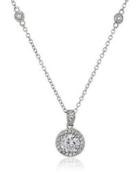 Swarovski Myia Passiello Timeless Platinum Plated Silver And Zirconia Halo Pendant Necklace 18