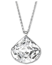 Swarovski Necklace Silver Tone Clear Crystal Oblong Teardrop Pendant Necklace