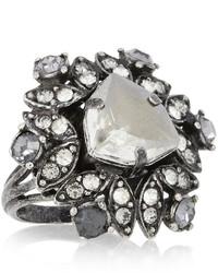 Lanvin Iconic Gunmetal Tone Swarovski Crystal Ring
