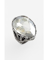St. John Collection Crystal Ring Ruthenium Shade 8