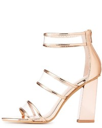 Charlotte Russe Clear Three Piece Metallic Sandals