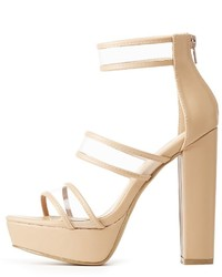 Charlotte Russe Clear Three Piece Platform Sandals
