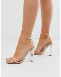 ASOS DESIGN Hark Clear Barley There Block Heeled Sandals