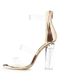 Charlotte Russe Wide Width Clear Metallic Three Piece Sandals