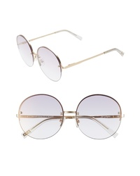 Le Specs Say My Name 61mm Semi Rimless Round Sunglasses
