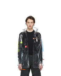 Marcelo Burlon County of Milan Transparent And Multicolor Lettering Coat