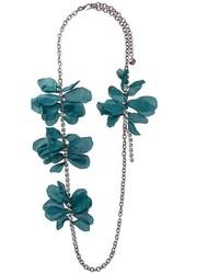 Collar de Flores Plateado de Lanvin