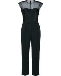 Combinaison pantalon en dentelle noire Lanvin