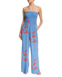 Combinaison pantalon imprimée bleue Tory Burch