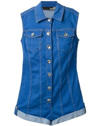 Combishort en denim bleu Love Moschino
