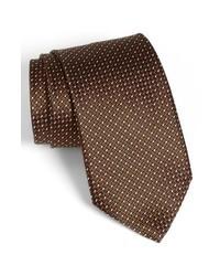 Corbata a lunares en marrón oscuro