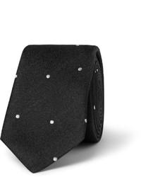 Corbata a lunares en negro y blanco de Saint Laurent