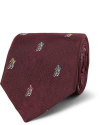 Corbata bordada burdeos